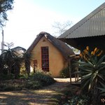 One of the hotel's building with traditional thatch