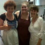 In the kitchen with Simonetta and Sara and me in white.