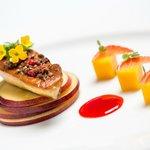 Pan sautéed foie gras with raspberry sauce