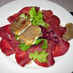 aged beef with cheese-filled buckwheat appetizer