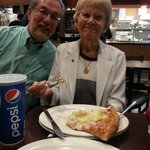 My 92 year old great ąunt with her first piece of pizza!