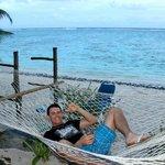 Enjoying the hammock outside our villa