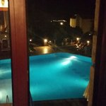 Pool view from side window from room 712 at night
