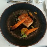 Pork belly with carrot mash and roasted carrot