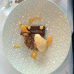 Chocolate ganache with mandarin reduction, sauce, etc