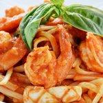 Linguini with seafood $4.50