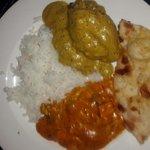 Tasty take out malai kofta, paneer butter massala, naan and rice