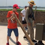 """Our """"recruit"""" moving the cannon at the orders of the Corporal!  This is a wonderful and intera"""