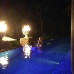Pool villa with fire torches