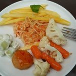 Vegetables, salad and french fries