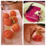 Truffle risotto balls with goat cheese, house-cured pork belly bacon with watermelon, and the sm