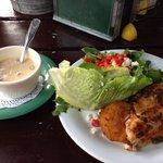 Blackened fish of the day: Redfish over jalapeño fried green tomatoes, salad with mango dressing