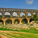 Great Roman aqueduct with river in the background