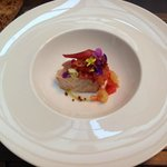 Just the most beautiful bonito marinated in salt water with red fruits and flowers