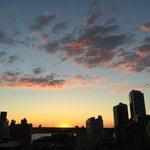 Sunset over Hudson from balcony