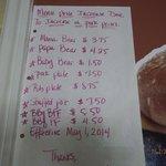 menu prices posed on wall