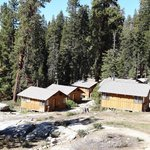 View of single cabins from main lodge deck