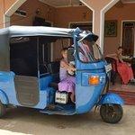 our girls in a tuktuk outside Moni