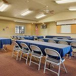 Our meeting room seats up to 50 people. We have long tables, wipe boards, easel and VCR. Other m