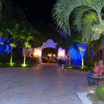 Night view of hotel grounds