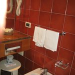 Bathroom has hairdryer, bidet