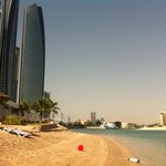 Etihad towers and the hotel's beach