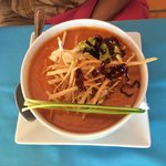Tortilla soup! A little spicy for me, but great flavor!