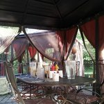 The gazebo outside is indeed ideal for breakfast - or a break in-between sauna and swim!