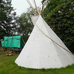 Teepees outside