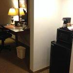 Microwave, Fridge, Chair & Desk