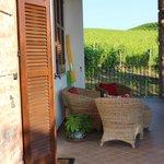 Gedeckte Terrasse mit Sicht auf Weinberge