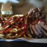 Meat combo with fries and corn bread