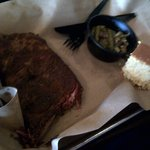 ribs with green beans and corn bread