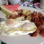 Great fried eggs and always survived with fresh fruit