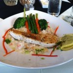 Halibut with seafood risotto