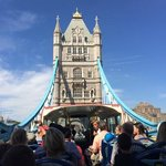 The view of Tower Bridge from the back of the bus