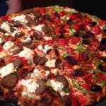 Half meatball and ricotta, half tomato, olive, and green pepper. Nice.