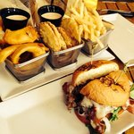 Three Way with onion rings, fried green tomatoes, and skinny fries--BCB burger in front