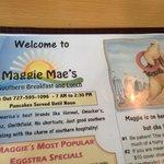 The menu at Maggie Mae's
