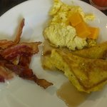 Great breakfast french toast, eggs and bacon