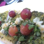 Fresh herbs and marinated grape flatbread, boom!