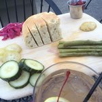In house marinated pickles, grapes and whiskey sour fresh plate, yum!