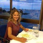 Having dinner in the restaurant