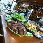 veggies and fresh seafood
