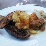 Coquelet rôti et aubergines