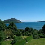 View from our room on the top floor looking over holy isle and private gardens