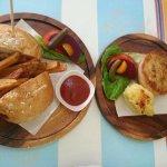 Lamb burger & Chicken pie