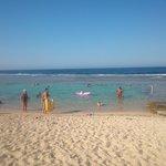 la baignoire à la plage, de jolis poissons