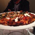 Half tandoori and half Tuscan sun pizza