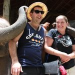 elephant kisses while Tom took our picture